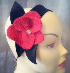 Millinery  Wool Flower Headband  Fascinator by katherinecareyhats, $45.00