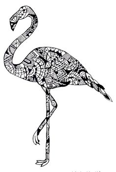 Flamingo by Cecilie Wilsborg 2014 Baby Coloring Pages, Animal Coloring Pages, Coloring Pages To Print, Adult Coloring, Coloring Books, Flamingo Art, Flamingo Pattern, Mandala Art, Mandala Painting