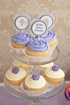 Purple, Gray, and White with Polka Dots Flourish Cupcake Toppers for Christening or Baptism, via etsy