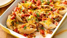 Transform taco night with this fun, easy and delicious pasta dish. Transform taco night with this fun, easy and delicious pasta dish. Mexican Dishes, Mexican Food Recipes, Dinner Recipes, Mexican Meals, Dinner Ideas, Meal Ideas, Pillsbury Recipes, Best Casseroles, Stuffed Pasta Shells