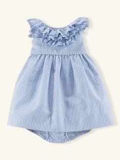 Ruffled Seersucker Dress - Dresses & Rompers   Layette Girl (Newborn–9M) - RalphLauren.com