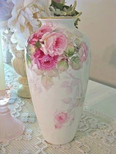 Shabby Chic white Vase with Large Pink Painted Roses