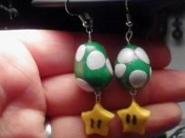 Mario inspired yoshi egg earrings