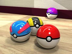 pokemon! Pokeball, GreatBall, UltraBall, and a MasterBall. That's a lot of balls.