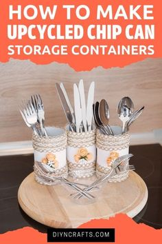 Grab that empty chip can and turn it into this rustic Pringles can storage containers! These are perfect for your kitchen, desk, or even bathroom! Upcycle chip cans and turn them into simple DIY storage using a few steps, this video tutorial, paint, and your favorite embellishments! Perfect homemade storage containers! #UpcycledCraft #Storage #PringlesCan #EasyCraft, #KidsCraft #Organization Can Storage, Storage Containers, Upcycled Crafts, Easy Crafts, Simple Diy, Easy Diy, Homemade Storage, Pringles Can, Empty
