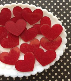 Valentines day hearts - Red Laser Cut Heart Cabochons - Glitter Heart Cabochon Lot