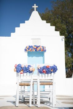 Simply gorgeous chair florals at Agios Sostis Church in Mykonos. The 12 Events.  - photo by http://www.rossiniphotography.it/