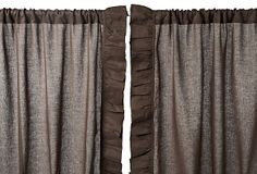 "Ruffle 96"" Linen Curtain Panel, Brown for $127 from OneKingsLane.com"