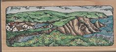 Landscape Etchling Rubber Stamp Wood Mounted WM Stampendous #Stampendous