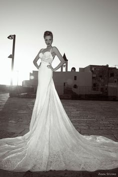 zoog bridal studio 2013 wedding dress spaghetti straps full view train