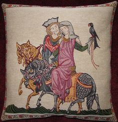 Decorative pillow - theme from Codex Manesse - Falkenjagd Friedrich Ii Staufer, Swedish Cottage, Timber Frame Homes, House In The Woods, Cozy House, Country Style, Interior Inspiration, Decorative Pillows, Rustic