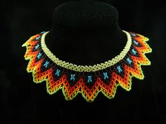 Beautiful Beaded Royal Necklace Seed Bead by MysticRootsVisions Seed Bead Necklace, Seed Bead Jewelry, Seed Beads, Crochet Necklace, Beaded Necklace, Tribal Jewelry, Unique Jewelry, Mexican Jewelry, Beaded Collar
