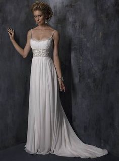 Glamorous Spaghetti Straps Beads Working Sheath / Column Empire Wasit Chiffon Satin Beach Bridal Gown