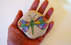 Hand Painted Stone Dragonfly by ISassiDellAdriatico on Etsy