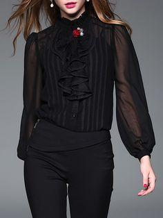 #AdoreWe Jade&Cloud Long Sleeve Ruffled Paneled Beaded Brooch Elegant Silk-blend Blouse - AdoreWe.com