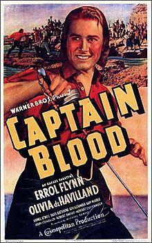 "Movie poster, ""Captain Blood"", starring Errol Flynn and Olivia de Havilland, 1935 Old Movie Posters, Classic Movie Posters, Cinema Posters, Movie Poster Art, Film Posters, Classic Movies, Errol Flynn, Old Movies, Vintage Movies"