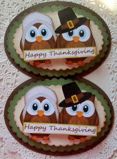 Thanksgiving Owl Pilgrim Embellishments-Set of 2 on Etsy, $5.59