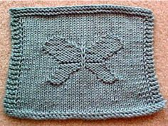 """Butterfly Dishcloth - An easy to """"knit in"""" pattern of a butterfly in a dishcloth. This is something a little bit different than the usual knit dishcloths. Amaze your friends that you can knit this! The pattern is """"row by row"""" easy! Once you make one, you will know how fun and easy it is, you will want to knit another for a gift! Uses worsted weight cotton or worsted weight yarns, knitting needles, US # 9. Finished size is about 10"""" by 9 ½"""". A good size for every kitchen!  $1.25"""