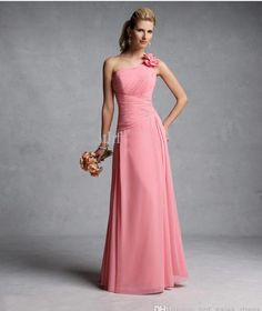 2017 New Fashion One Shoulder Sexy Peach Floor Length Bridesmaid Dresses  Custom Bridal Party Gowns-in Bridesmaid Dresses from Weddings   Events on  ... 6233f9c2ba7a