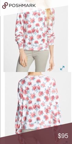 WILDFOX Rose Print Baggy Beach Pullover NIB Brand new never worn. Lovely red roses brighten up a laid-back long-sleeve pullover sweatshirt. - 47% polyester, 47% cotton, 6% spandex Wildfox Sweaters Crew & Scoop Necks