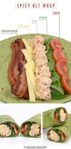 Spicy BLT wrap recipe with caught tuna - Simple & Easy Delicious R . - Spicy BLT wrap recipe with caught tuna – Simple & Easy Delicious Recipes – - Lunch Meal Prep, Healthy Meal Prep, Healthy Snacks, Healthy Eating, Healthy Recipes, Delicious Recipes, Keto Meal, Healthy Wraps, Healthy Work Lunches