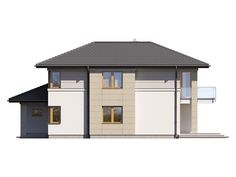 DOM.PL™ - Projekt domu TP Karat 2 CE - DOM TP2-13 - gotowy koszt budowy Flat Roof House, Facade House, Beautiful House Plans, Beautiful Homes, Mediterranean Style Homes, Two Story Homes, Architect House, Modern House Design, Home Projects
