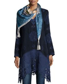 Lacy+Long+V-Neck+Georgette+Top+&+Yana+Silk+Printed+Scarf,+Women\'s+++by+Johnny+Was+Collection+at+Neiman+Marcus.