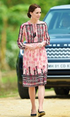 Royal Tour Day 4 - The Duchess of Cambridge , wearing a pink Topshop dress with a tassel neck tie, floral print and Indian-inspired embroidery for the second part of their visit to Kaziranga National Park in Assam, India | 04.13.16