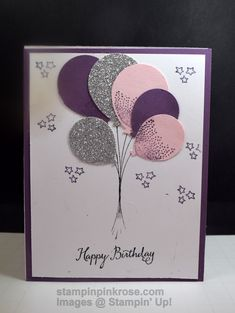 Stampin' Up! CAS Birthday card made with Balloon Celebration stampset and designed by Demo Pamela Sadler. Balloons are always a perfect way tocelebrate a birthday. See more cards atstampinkrose.com and etsycardstrulyheart