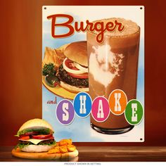 The dynamic duo of diner food! Put a delicious retro look in your kitchen, restaurant or office with our Hamburger and Milkshake Metal Sign. Made with 24 gauge steel and designed by the Retro Planet art staff! Measures 12