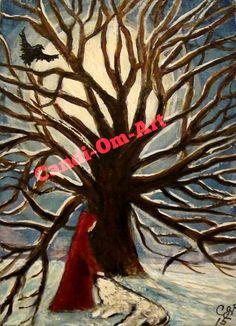 ACEO Original Painting Gothic Red Riding Hood Wolf Raven Moon #14 Card of 2015 #Miniature