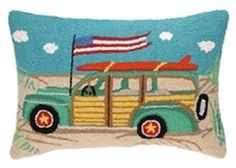 Blue-Going Places Station Wagon Pillow