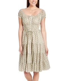 Love this Aryeh Green & White Floral Smocked Cap-Sleeve Dress by Aryeh on #zulily! #zulilyfinds