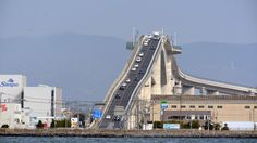 World's Weirdest Bridges (PHOTOS) | The Weather Channel-- The roller coaster-like Eshima Ohashi bridge, located in the Chugoku region of Honshu, Japan, has a gradient of 6.1 percent on one side and 5.1 percent on another. It spans one mile across Lake Nakaumi linking cities of Matsue and Sakaiminato. (The Asahi Shimbun via Getty Images)
