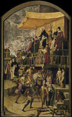 PEDRO BERRUGUETE. Santo Domingo presidiendo un auto de fé. 1500. Museo del Prado.