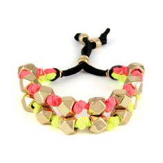 Coral and Yellow Double Strand Bolo Cord with Large Faceted Beads - Ettika
