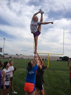 Cheer Stunt, bow & arrow - can be done @ thigh level
