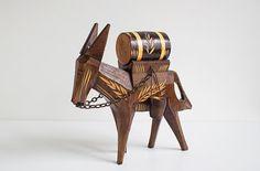 Swedish Vintage Wooden Donkey Figurine, Handmade Wood Donkey, Swedish Figurine, Scandinavian Design, Rustic Decor by LittleRetronome