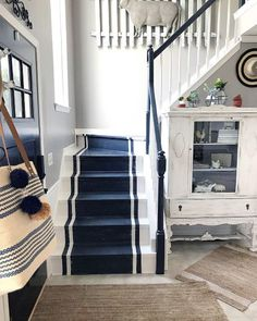 From grey solid stripes to colorful ornate patterns, discover the top 70 best painted stairs ideas. Painted Stair Railings, Painted Staircases, Painted Stairs, Wooden Stairs, Redo Stairs, Front Stairs, Cottage Stairs, House Stairs, Tiled Staircase