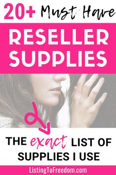 Looking to make money selling on eBay, Poshmark or Mercari? Here is the exact list of supplies I use to resell (flip) thrift store items for profit. Includes what is needed for photography, shipping, and cleaning/prep. | #reselling | #makemoneyfast | #sidehustleideas | #ebaytips | #flipping
