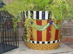 Photo of Whimsical French Farmhouse Style Garden Planter Pot and Hand Painted Drip Pan