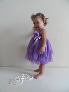 Lilac Purple Baby Tulle Dress with Empire Waist and Stretch Crochet Top.Tulle dress  for girls with lacy crochet bodice.