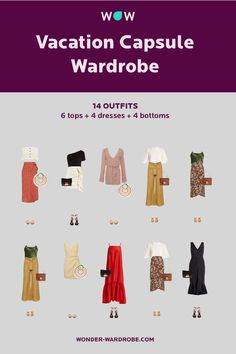 This capsule includes 6 tops, 4 dresses, 4 bottoms, 1 cardigan, 1 sweatshirt, 3 pairs of shoes, 3 bags that result in 14 beautiful outfit combinations. Style: Romantic style with casual elements. Colour type: Spring/Autumn. Body shape: Hourglass/Pear. Season: Summer. Method: Wonder Wardrobe