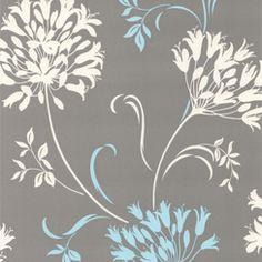 Decorline Papier peint au motif d'agapanthe en gris et bleu