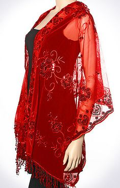 Red Enchanting Evening Wrap for Women