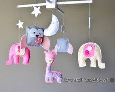 Baby crib mobile - Baby Mobile - Custom Baby Mobile -  Elephant Mobile - Owl Mobile - CHOOSE your colors :). $110.00, via Etsy.
