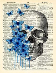 Day of the Dead Flower Mexican Skull Gothic Skull Poster, Vintage Anatomy Art, Flower Artwork, Anatomy Skull Decor, Skeleton Wall Decal 200 A Level Art Sketchbook, Arte Sketchbook, Kunst Inspo, Art Inspo, Desenhos Tim Burton, Natural Form Art, Natural Forms Gcse, Skull Artwork, Cool Artwork