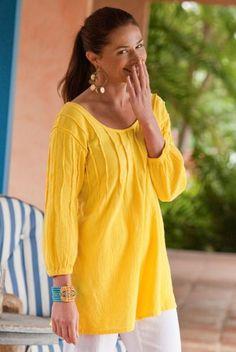 """Flattering pintucks add style to an easy crinkled cotton gauze pullover - front and back from the neckline to the empire waist where they open up into pleats, and on the three-quarter length sleeves gathered into petite elastic. Misses 29-1/2"""" long. Pintuck Gauze Pullover #24014"""