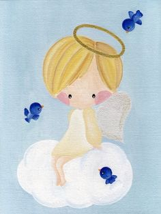 Cute Girl Illustration, Unicornios Wallpaper, Angel Drawing, Angel Art, Christmas Angels, Nursery Art, Cute Drawings, Art Images, Painted Rocks