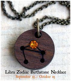 Libra Zodiac Constellation Necklace with Custom Birthstone from Tiny Whale Studio